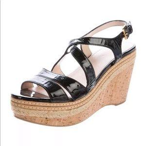 PRADA Patent Leather Cork Platform Wedge Sandal 37